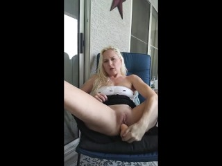 Sexy Horny Blonde Olivia Regal Gets Caught Rubbing Pussy Outside On Patio