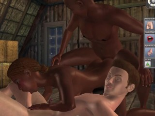 We invited our white friend for joint sex in the village barn | threesome