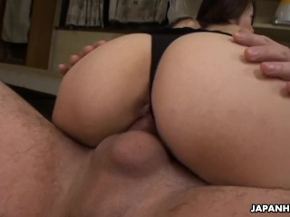 Japanese fuck doll, Maki Hojo is eagerly sucking dick, uncensored