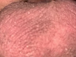 Closeup of Throbbing, Pulsating Balls as He Dumps His Load in Her Pussy