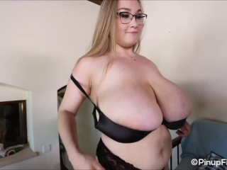 Natural 34JJ Cheryl Blossom shows off her bouncy breasts