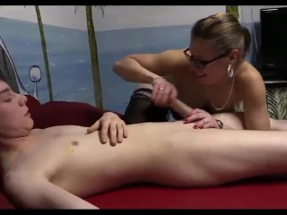 Horny german mature cougar MILF teaches lucky dude how to fuck her pussy