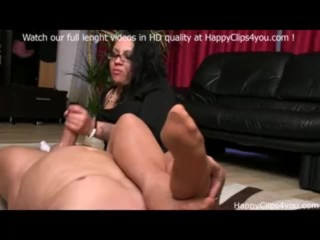 Foot smelling handjob by Gina