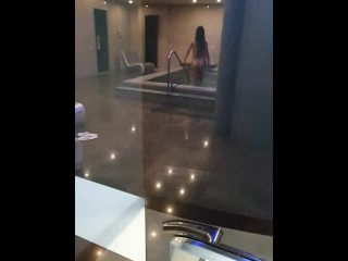 Spying on a naked girl in a hotel SPA