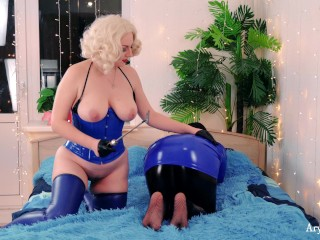 Anal Plug, FaceSitting, ass and feet spanking, tickling! 4k lesbian fetish video in PVC clothes!