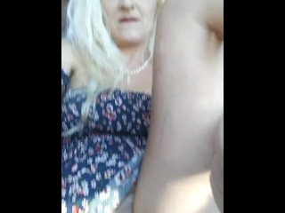 Horny Blonde Girl Rubs Pussy While Waiting In Car