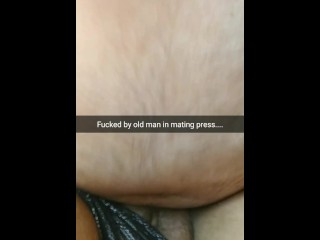 Old man fuck me in mating press with a broken condom...i feel his cum inside....[Cuckold.Snapchat]
