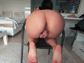 Solo Amateur Brunette Babe Relax After Hard Work | Horny Babe mastrurbate after work by Hilana Won