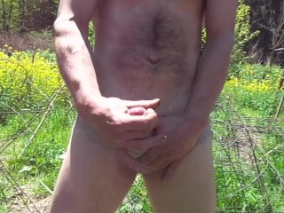sexypantyman takes it outside for a walk in the garden hope ma don't find me taking the cock out!