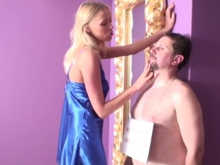 slave joschi get slapping and spitting by tall princess helena
