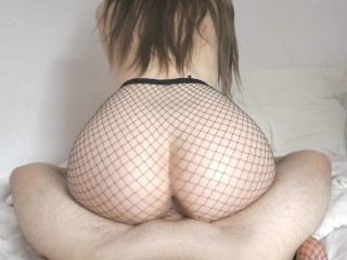 Stepsister in Fishnet makes me cum in 5 minutes - I was fucked instantly! Cute 4k cowgirl POV