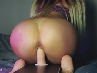 Round ass sweet girl riding on mounted cock