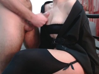 My boss let me cum on her pretty clothes - cfnm