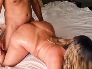 Beautiful blonde with a big ass is fucked hard in the ass and cries with pleasure that ends up in he