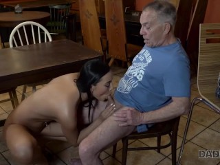 DADDY4K Nymph with long hair rides old cock belonging to BFs dad