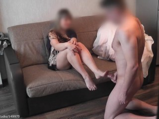 After getting kicked in the balls he cums on her feet CFNM jerk off ballbusting
