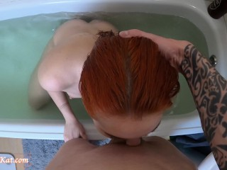Horny Mermaid Play Pussy and Sucking Dick - Cum on Tits