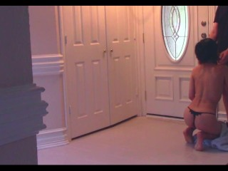 Japanese wife gives shy pizza boy a blowjob for tip - Anna Tenshi