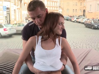 Kate Ross getting a taste of big cock in public