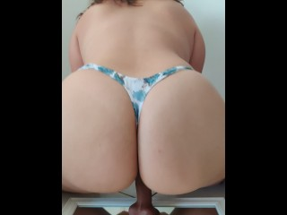 Juicy Ass Girl Riding Black Dildo On Mirror and looks DELICIOUS