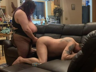 Hubby ass up taking a nice hard pegging from my big strapon cock