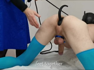 Prostate Milking like a Pet Doggy style. His cock is turned back. Can you do that? I think no