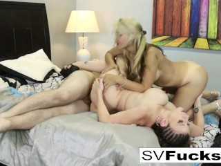 Hot Steamy 3-way of tits, asses, and a big dick!