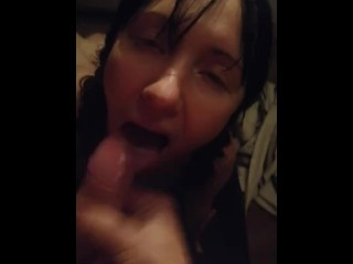 Amateur vid of hot couple in love POV blowjob deepthroat sloppy squirt fingering moaning