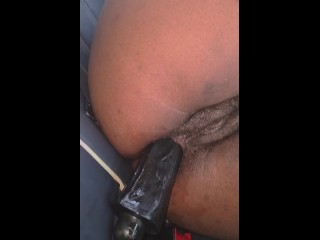 Anal training with thick black Dildo