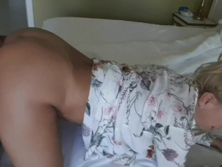 StepMom and StepSon Alone in the Bedroom- Morning strong erection