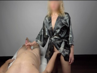 Massage happy ending by beautiful blonde gives great handjob - 4K