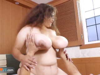 Chubby brunette with huge tits is getting fucked by horny man by AgedLove