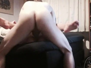 Step Sister Gives A Sloppy Blowjob And Gets Fucked And Creampied