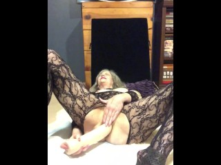 Mature Milf Fucks Hungry Pussy With Huge Dildo and Explores Gape With Fingers loud