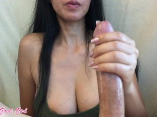 Edging handjob by beautiful babe - she loves cock and dirty talk!