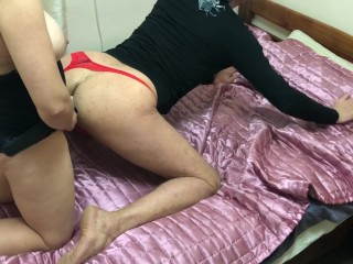 Wife licking and pegging bisex cuckold husband ass, cum sharing and kissing