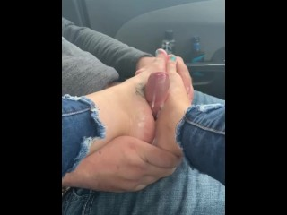 Footjob in car from a freind