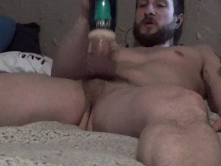 Bearded guy strokes his fat cock with the ZOLO Thrustbuster shooting load all over himself
