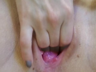 Extreme close up view on juicy pussy
