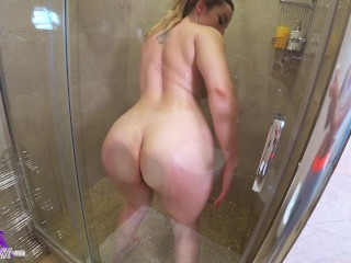 Tattooed Girl Fingering in Shower and Intensive Orgasm