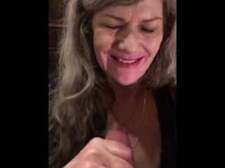 Romantic Eye Contact Red Lipstick Submissive ASMR CIM BJ Ends With Throatpie For Sexy GILF