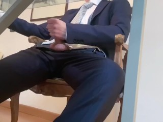 Spy Cam - Manager cums while watching Porn in the office