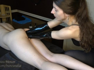 DOUBLE FISTING with Latex Gloves for Anal Rosebud Gaping Sissy