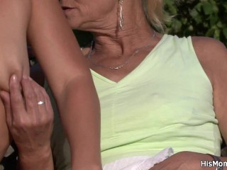 Guy caught young GF toying his very old mother