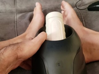 Toe Curling Orgasm in Fleshlight Launch To Sexy Cam Girl