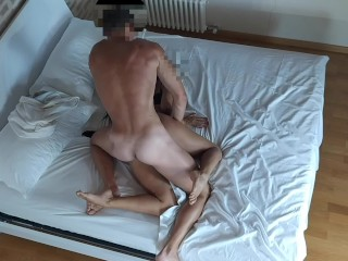 Real cuckold couple spy her horny wife cheating and fucking the Bull big cock