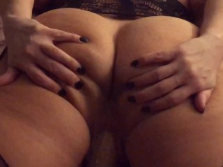 Spread my ass cheeks apart while fucking my dildo, waiting for you to stick your big cock in my ass