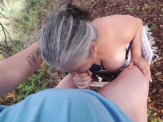 HOT CHICK FUCKS A RANDOM HIKER IN TEXAS AND TAKES A CUM SHOT - Renee Knox