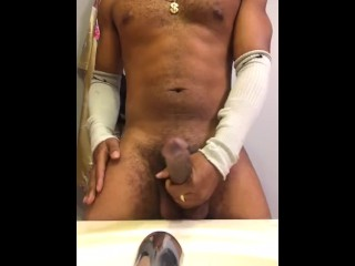 Sexy fit black man jerks to huge cum shot | Nut Video
