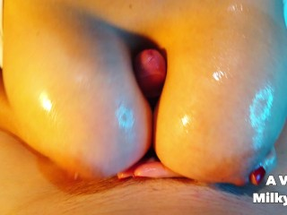 Oily titfuck and handjob - Big natural tits AVeryMilkyWay